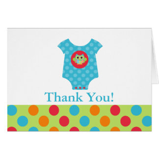 Baby Bodysuit Owl Baby Shower Thank You Note Card