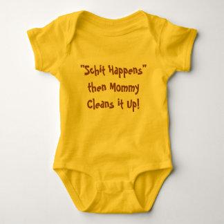 """Baby Bodysuit """"Schit Happens"""" Funny Adorable"""