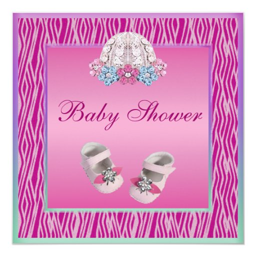 Baby bonnet bling shoes pink zebra baby shower for Pink and zebra bathroom ideas