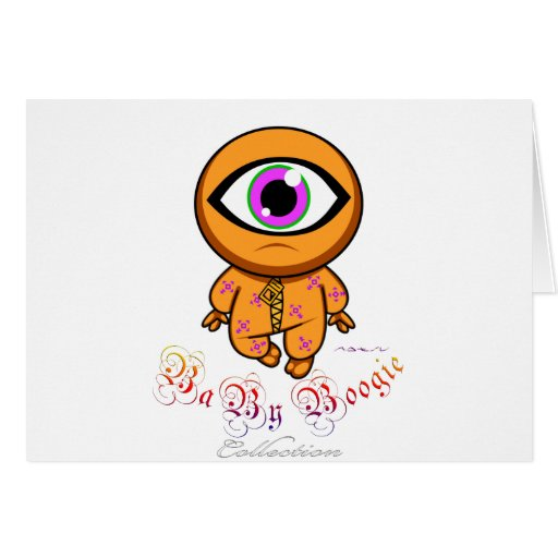 Baby Boogie - Orange Cyclop Greeting Card