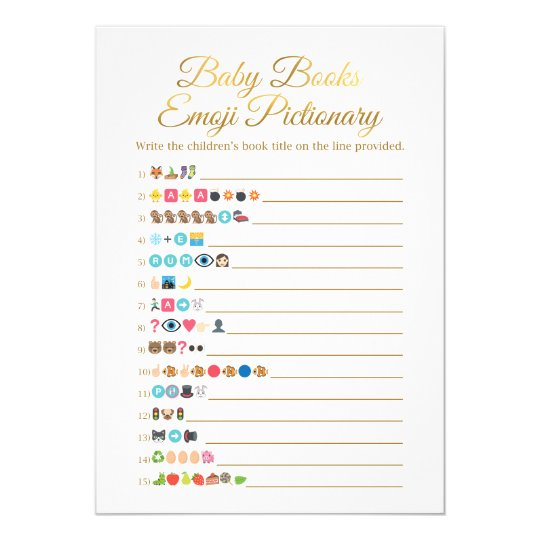 Baby Books Emoji Pictionary Game Gold Baby Shower Invitation