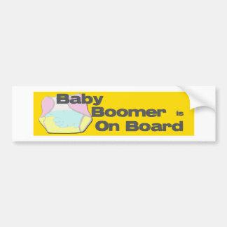 Baby Boomer Is On Board Bumper Sticker Car Bumper Sticker
