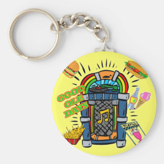Baby Boomer Jukebox Basic Round Button Keychain