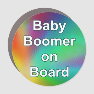 Baby Boomer on Board Round Car Magnet