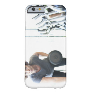 Baby boomer woman working out triceps in health barely there iPhone 6 case