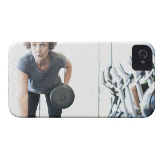 Baby boomer woman working out triceps in health iPhone 4 Case-Mate case