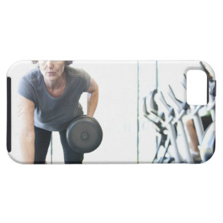 Baby boomer woman working out triceps in health iPhone SE/5/5s case