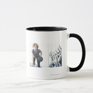 Baby boomer woman working out triceps in health mug