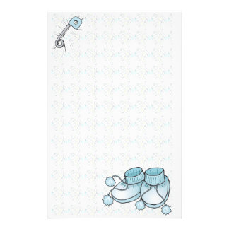 Baby Bootie Blue Stationery