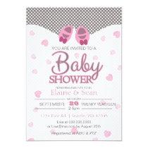 Baby Booties Pink Girls baby shower invite