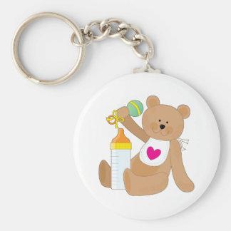 Baby Bottle and Bib Basic Round Button Keychain