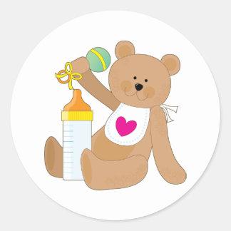 Baby Bottle and Bib Round Stickers
