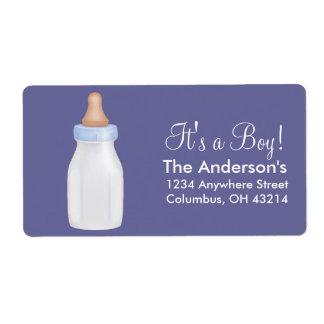 Baby Bottle Blue Return Address Labels