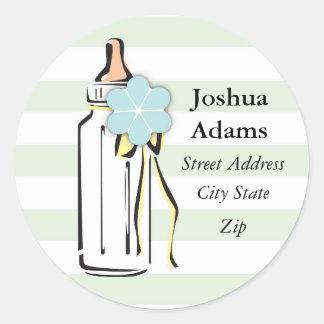 Baby Bottle- Boy Address Label Classic Round Sticker