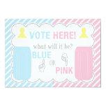 Baby Bottle Gender Reveal Voting Table Sign Card