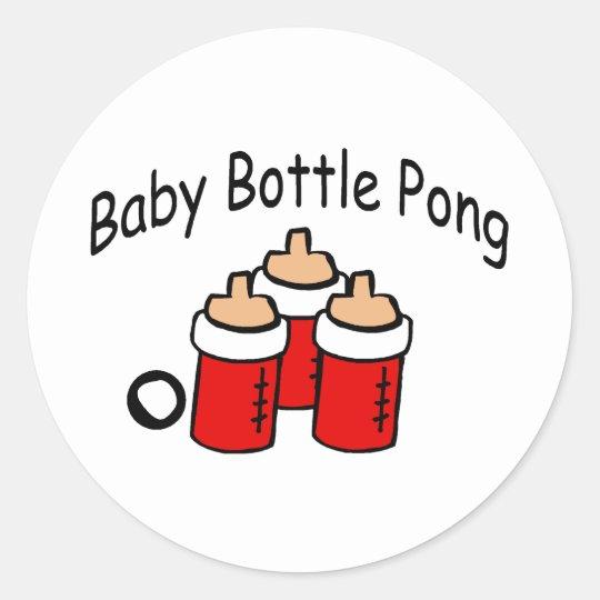 Baby Bottle Pong Classic Round Sticker