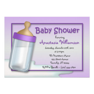 Baby Bottle Purple Baby Shower Invitations