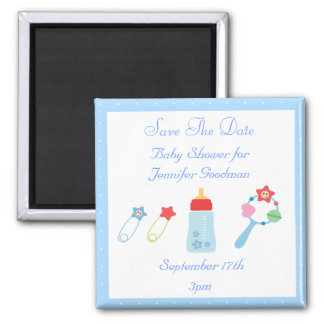 Baby Bottle & Rattle Save The Date Baby Shower 2 Inch Square Magnet