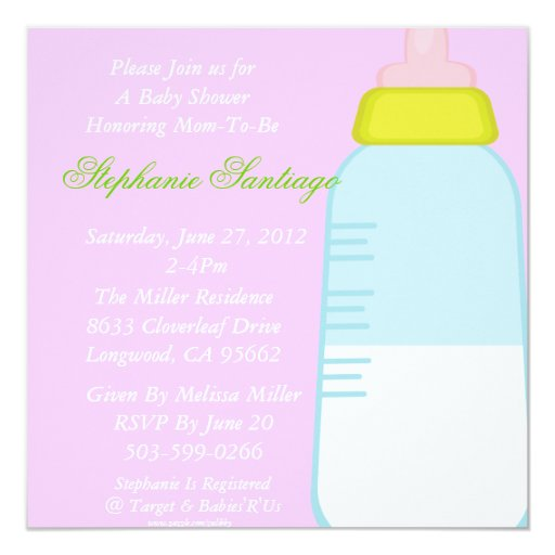Baby bottle shower inivitation 5.25x5.25 square paper invitation card