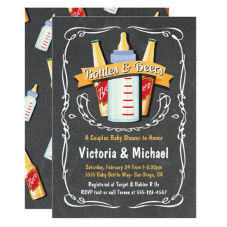 Baby Bottles and Beers Baby Shower Chalkboard Card