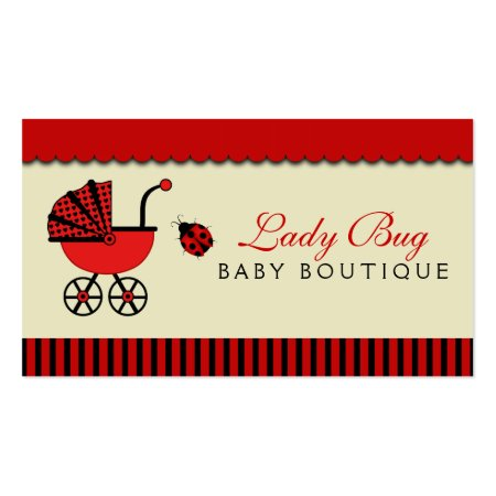 Cute Ladybug Red and Black Baby Pram Baby Store Business Cards Template