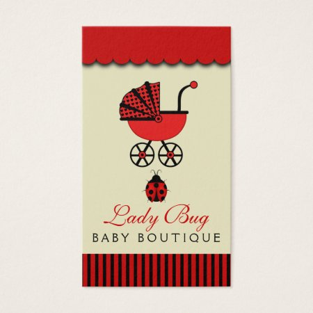 Cute Black and Red Ladybug Baby Stroller Baby Pram Baby Shop Business Cards