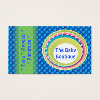 Baby Boutique Blue Green Dots business card