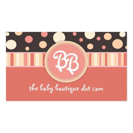Salmon Pink Stripes and Polka Dots Custom Monogram Baby Boutique Business Cards