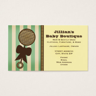 Baby Boutique - Vintage Rattle & Green Stripes Business Card