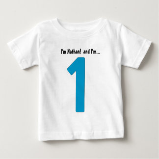 Baby Boy 1st Birthday Blue Big Number One Year Old Baby T-Shirt