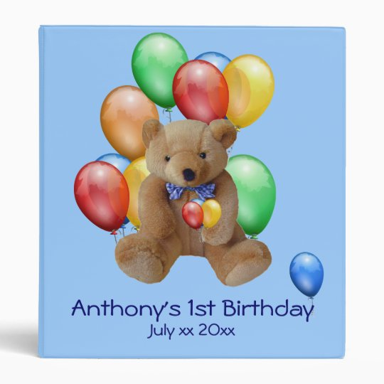 Baby Boy 1st Birthday Photo Album Binder Zazzlecom