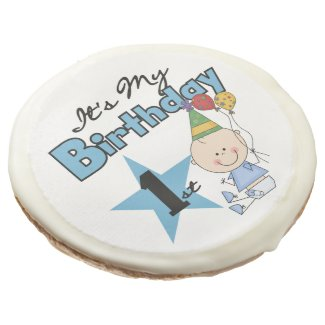 Baby Boy 1st Birthday Photo Cookie