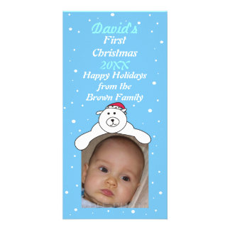 Baby Boy 1st Christmas Cute Polar Bear Photo Card