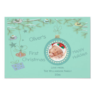 Baby Boy 1st Christmas Holiday Photo Card