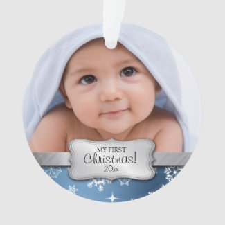 Baby Boy 1st Christmas with Snowflakes Ornament