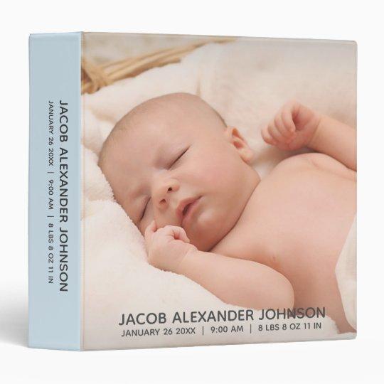 Baby BOY 1st Year ALBUM SCRAPBOOK Blue Add PHOTO 3 Ring Binder