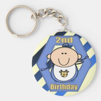 Baby Boy 2nd Birthday Basic Round Button Keychain