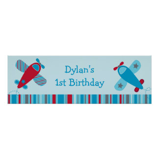Baby Boy Airplane Personalized Banner Sign Poster