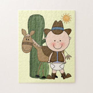 Baby Boy and Brown Cow Pony - Western Jigsaw Puzzle
