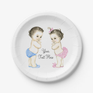 Baby Boy and Girl Twin Baby Shower 7 Inch Paper Plate