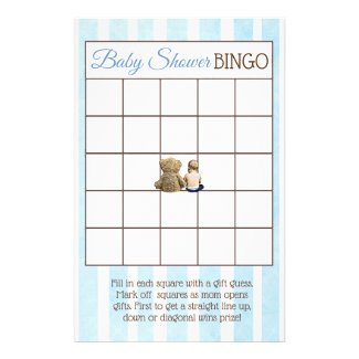 Baby Boy and Teddy Bear Baby Shower Games Flyer