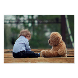 Baby Boy and Teddy Bear Poster