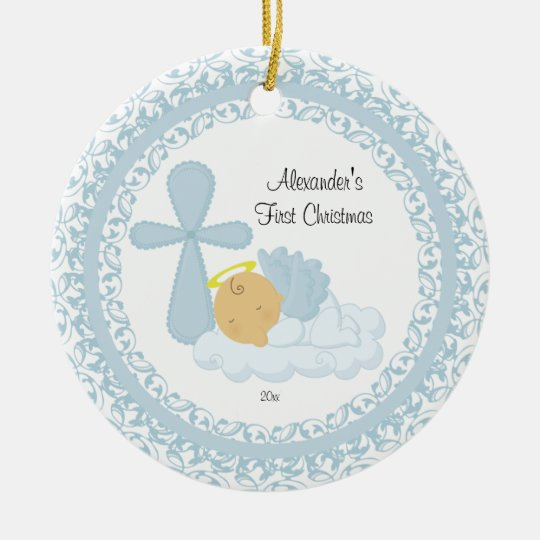 baby boy angel babys first christmas ornament - Baby Boy First Christmas Ornament