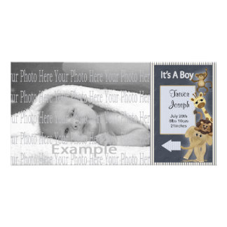 Baby Boy Annoucement Photo Card Template