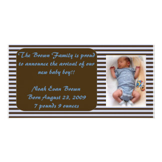 Baby Boy Announcement - Brown and Blue Personalized Photo Card