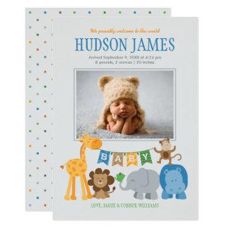 Baby Boy Announcement Card - Jungle Animals