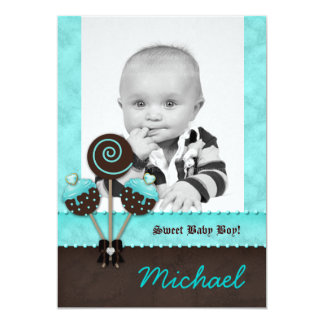 Baby Boy Announcement Invite Cake Pops Blue V