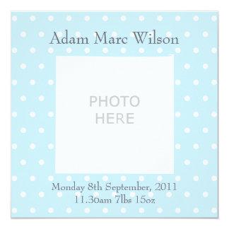 Baby boy announcement personalised photo upload 13 cm x 13 cm square invitation card