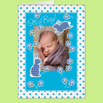 Baby Boy Announcement Photo Card Cute Bunny Rabbit