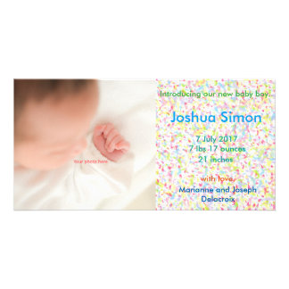 Baby Boy Announcement, photograph and Card